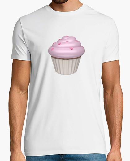 Camiseta blanca cupcake de fresa
