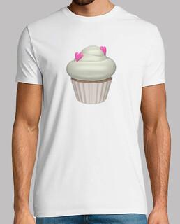 Camiseta blanca cupcake de fresa y nata