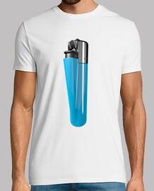Camiseta blanca mechero azul