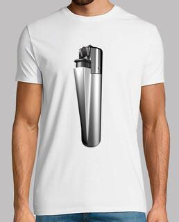 Camiseta blanca mechero plata