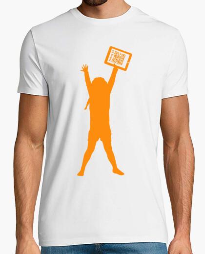 Camiseta blanca solidaria hombre - La niña de la tablet - Padres 2.0