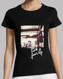 Camiseta boxeo mujer, manga corta, negra, calidad premium