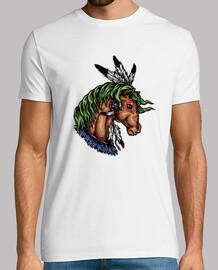 Camiseta Caballo Colorido Plumas Oeste Wild West Western Cartoon