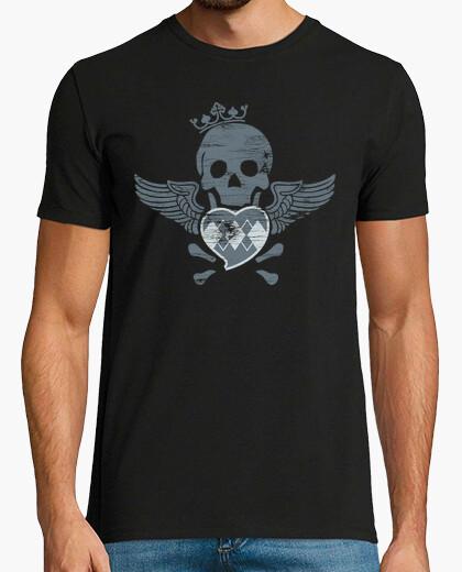 Camiseta Calavera corazón y alas Terror...