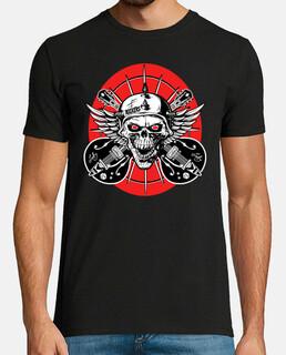 Camiseta Calaveras Rockers Skull Guitarras Alas Bikers Old School