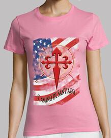 Camiseta Camino de Santiago Bandera USA