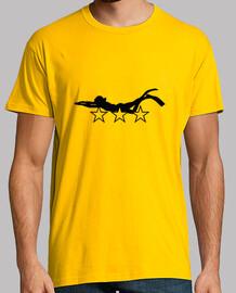 camiseta camisa de hombre de buceo, amarillo mostaza, de primera calidad