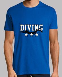 camiseta camisa de hombre de buceo, azul real, de calidad superior