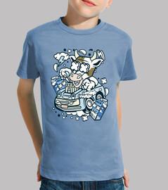 Camiseta Cartoon Vaca Divertida En Coche