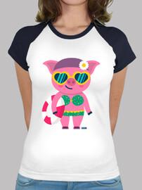 Camiseta cerdita mujer, estilo béisbol, varios colores