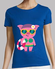 Camiseta cerdita mujer, manga corta, varios colores, calidad premium