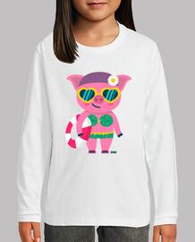 Camiseta cerdita niño/a, manga corta, varios colores