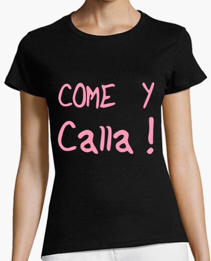 Camiseta Chica, chicas, manga corta ajustada, negra, come y