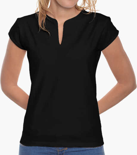 Camiseta Chica, cuello mao, negra