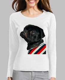 Camiseta chica entallada con diseño de Perro Pug  Carlino con camisa de rallas