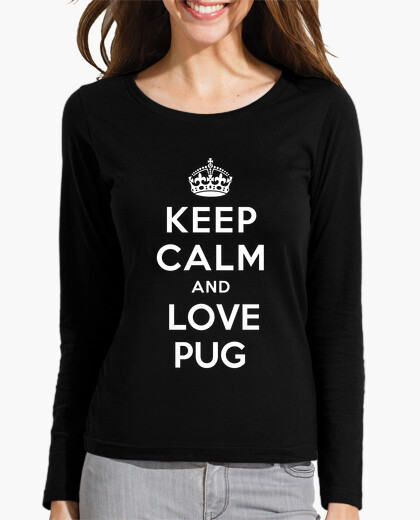 Camiseta chica entallada de manga larga keep calm and love pug