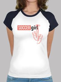Camiseta chica fútbol mangas color