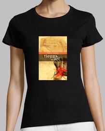 Camiseta chica, manga corta, portada novela   eslogan espalda