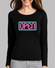 Camiseta chica manga larga OPEN neon