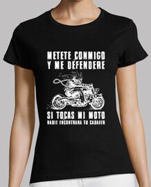 Camiseta chica No toques mi moto (blanco)