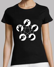 Camiseta chica piedra papel tijeras lagarto spock