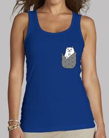 Camiseta chica sin mangas Gato-Bolsillo