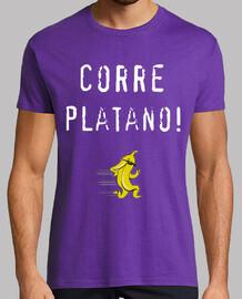 Camiseta, chico, Corre plátano