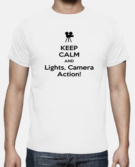 camiseta Chico Keep Calm And Lights, Camera, Action!