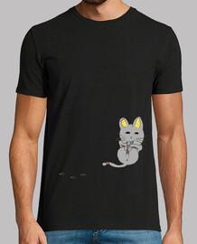 Camiseta Chico,Gatito y Huellas