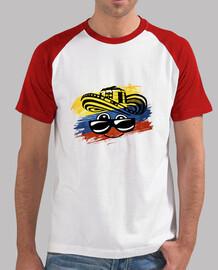 Camiseta Colombiana Hombre, estilo béisbol, blanca y roja