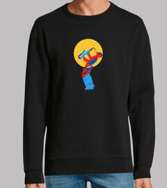 camiseta colorida del músico del saxofó
