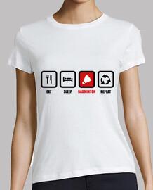 camiseta comer, dormir, badminton