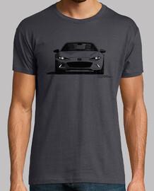 Camiseta con mi dibujo de la vista frontal del MX5 RF en negro-blanco