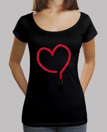 Camiseta corazón Mujer, cuello ancho & Loose Fit, negra