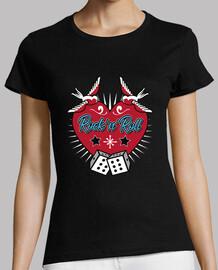 Camiseta Corazón Rock and Roll Vintage Rock USA