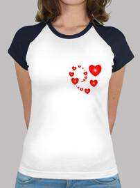 camiseta corazón rojo en forma de corazón de madre
