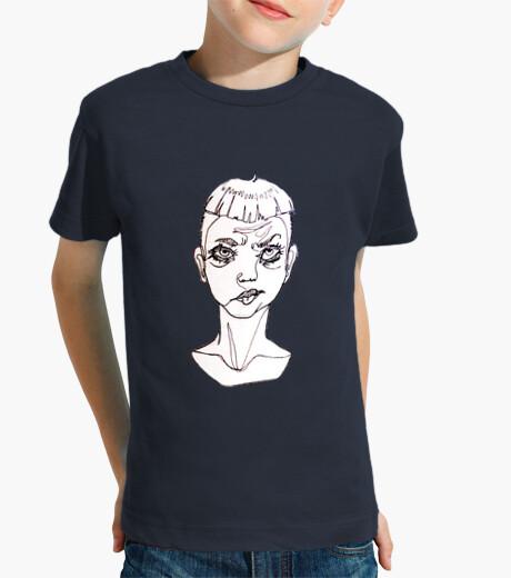 """Ropa infantil Camiseta corta niño original ilustración """"one line""""  sad boy"""