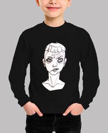 """Camiseta corta niño original ilustración """"one line""""  sad boy"""