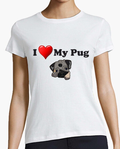 Camiseta corte regular I love my pug