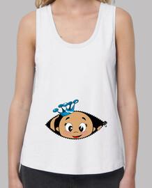 Camiseta Cucú Bebé asomando, corona azul, tirantes anchos & Loose Fit, blanca