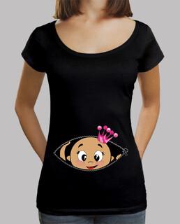 Camiseta Cucú Bebé asomando corona rosa, cuello ancho & Loose Fit, negra