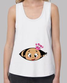 Camiseta Cucú Bebé asomando corona rosa, tirantes anchos & Loose Fit, blanca