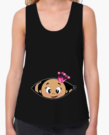 Camiseta Cucú Bebé asomando corona rosa, tirantes anchos & Loose Fit, negra