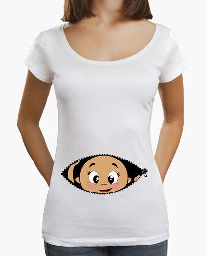 Camiseta Cucú Bebé asomando, cuello ancho & Loose Fit, blanca