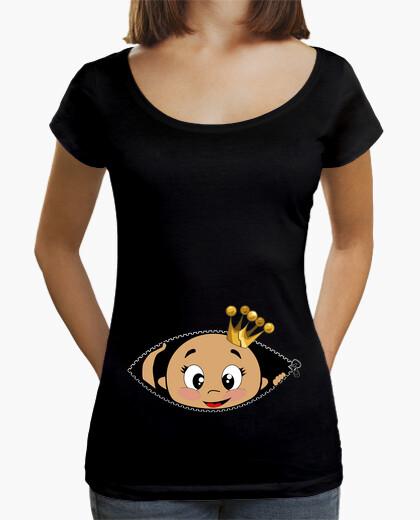 Camiseta Cucú Bebé asomando, cuello ancho, negro