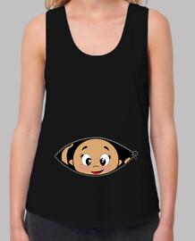 Camiseta Cucú Bebé asomando, tirantes anchos & Loose Fit, negra