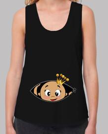 Camiseta Cucú Bebé asomando, tirantes, negra