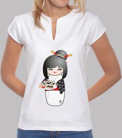 Camiseta cuello mao Kokeshi Sushi