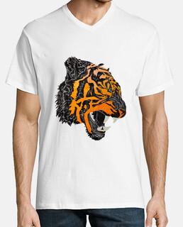 camiseta cuello v tigre rugido