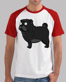 Camiseta de béisbol con Perro Pug Carlino Negro